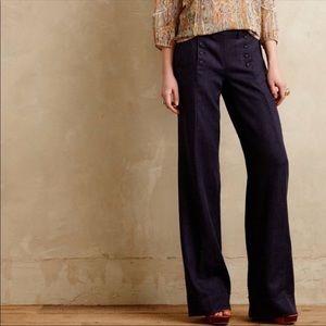 {Anthro} Cartonnier button pocket wide leg pants